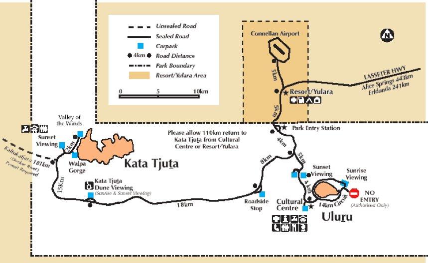 plan du parc d'uluru et des Monts Olgas avec les plateforme pour le coucher du soleil