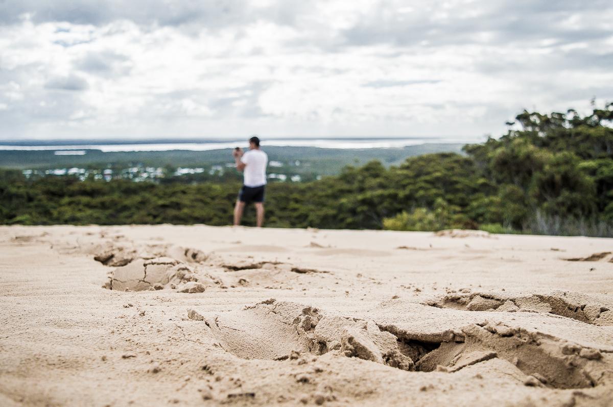vue depuis la dune carlo sanblow à Rainbow beach
