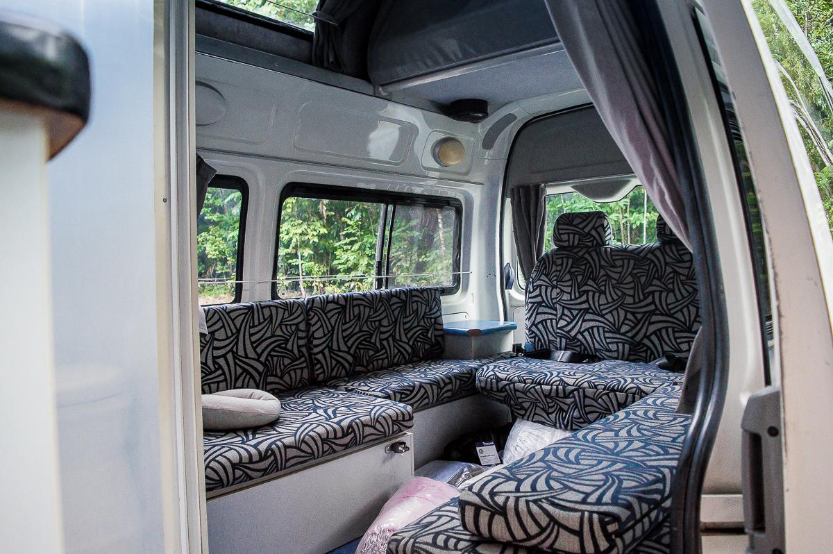 vue intérieure de notre campervan