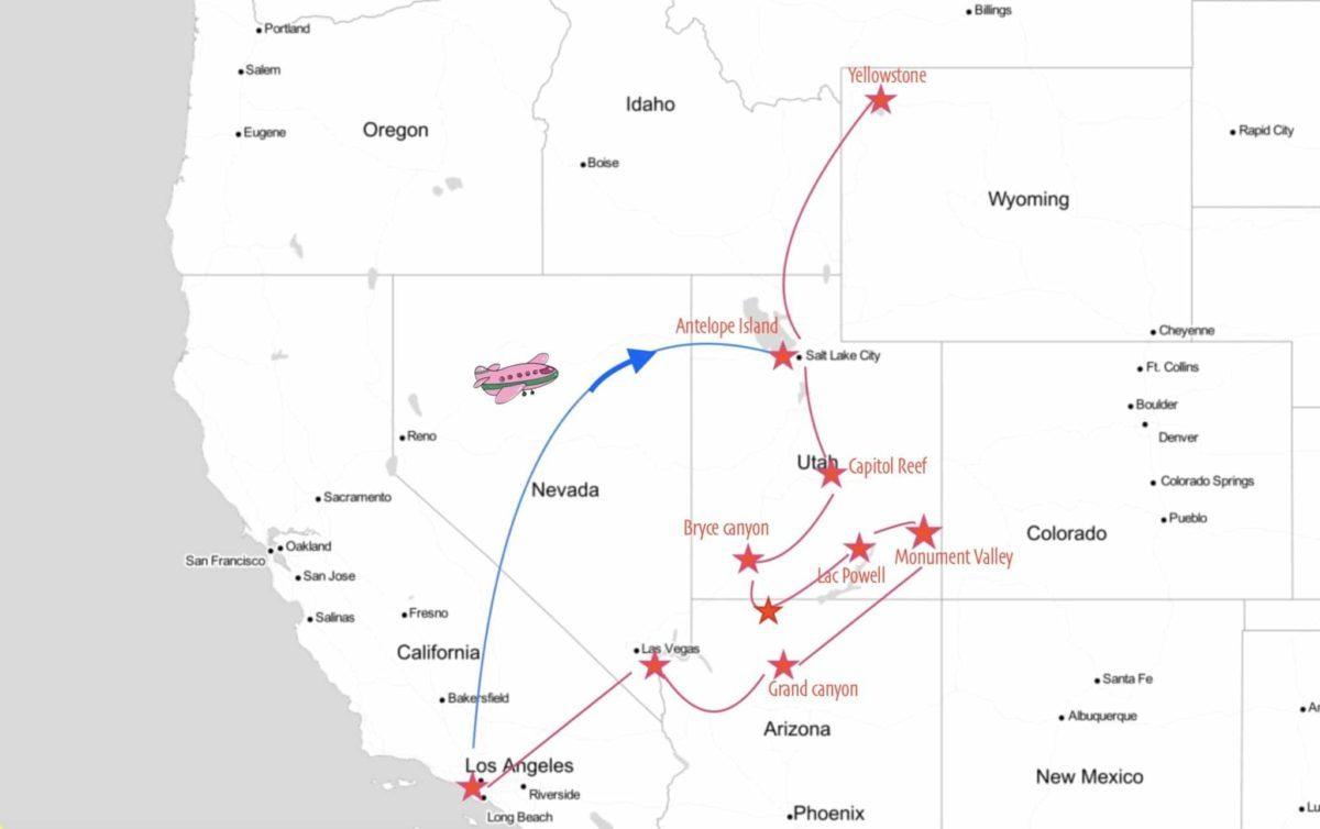 carte 2 semaines de road trip dans l'ouest américain avec yellowstone
