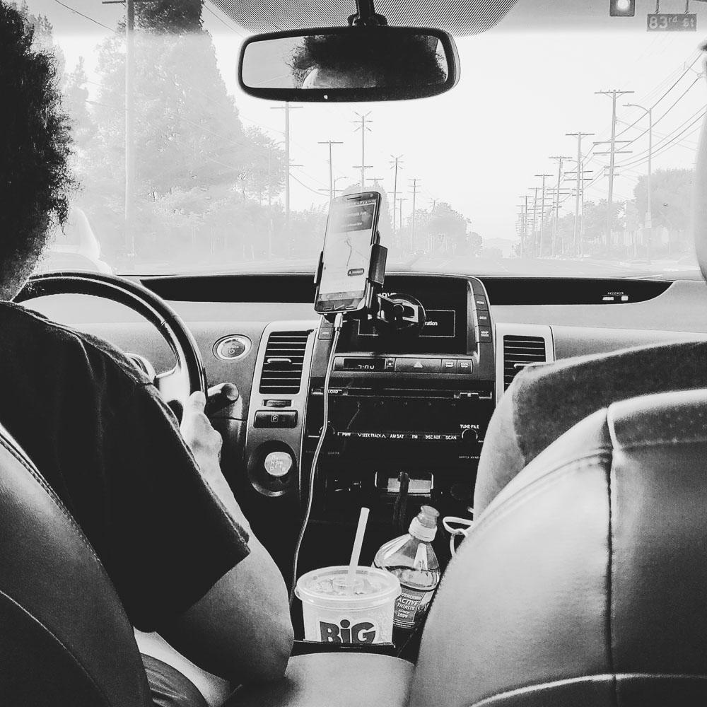 dans le taxi à Los Angeles
