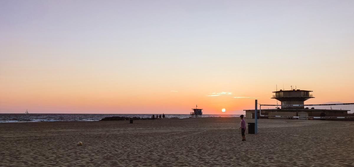 coucher de soleil a Venice Beach