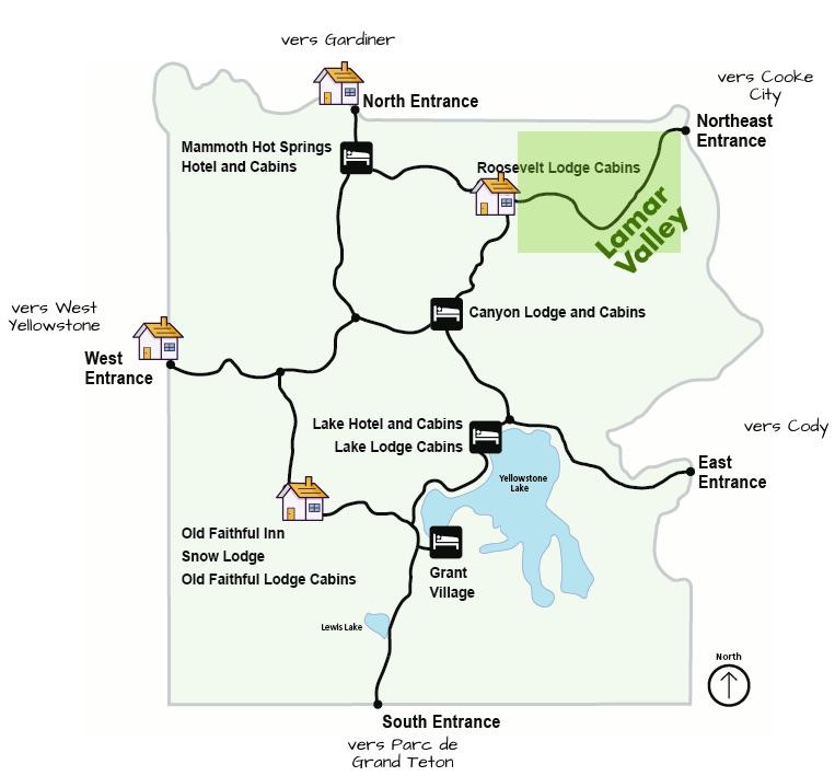 carte indiquant la situation de la Lamar Valley dans le parc Yellowstone