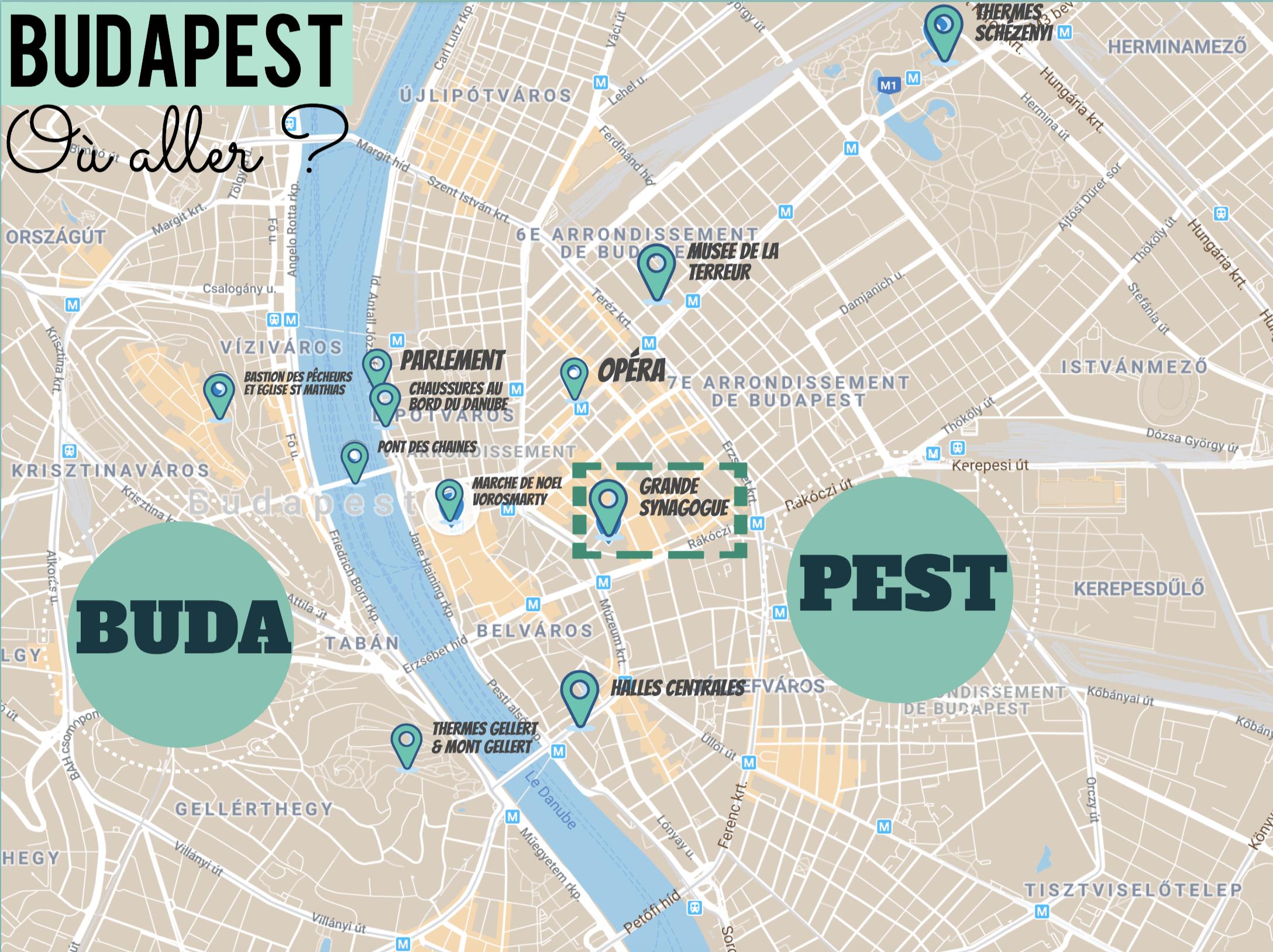 plan des lieux touristiques à voir à budapest