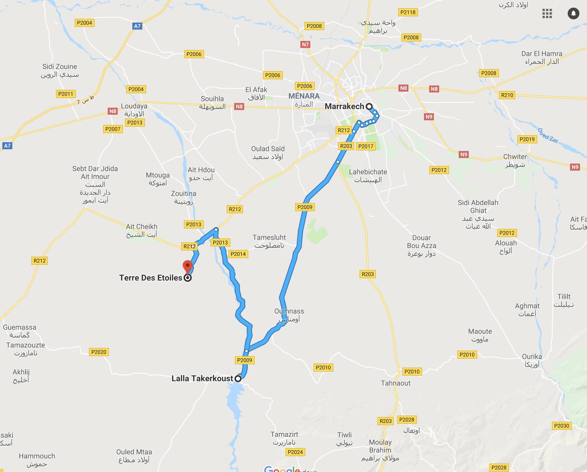 carte du désert d'Agafay