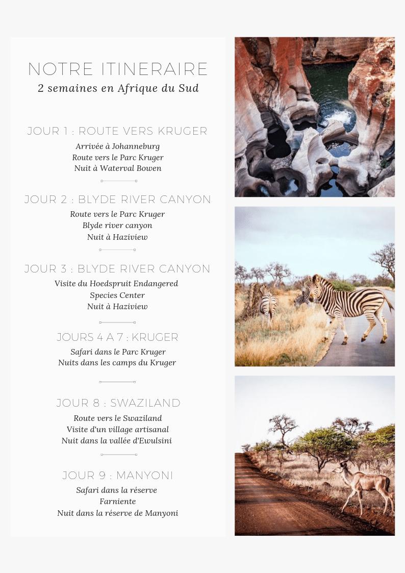 itinéraire de deux semaines en Afrique du sud