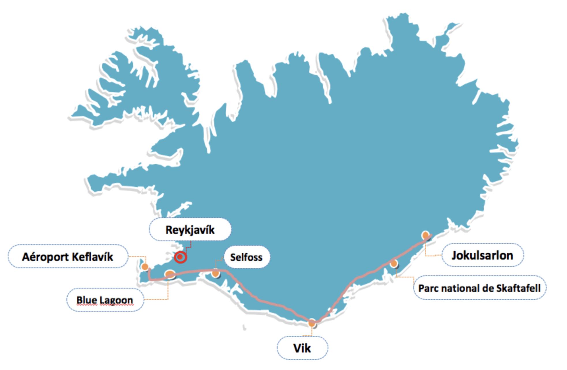 itinéraire 4 jours en islande