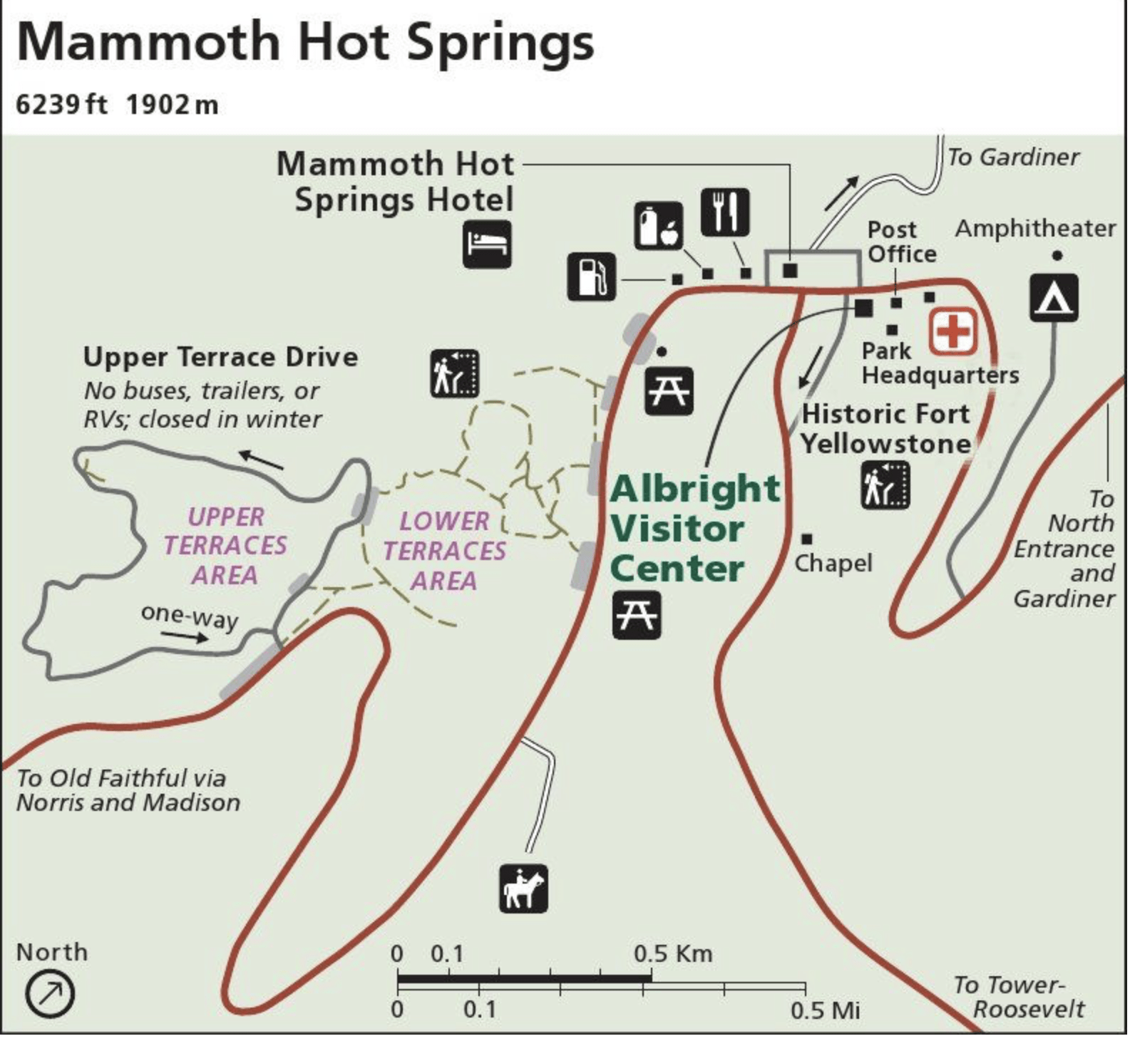plan du site des mammoth hotspring terraces