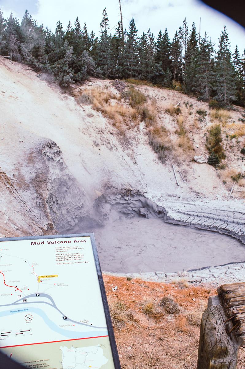 marmite de boue à mud vulcano area dans le secteur de Norris geyser basin