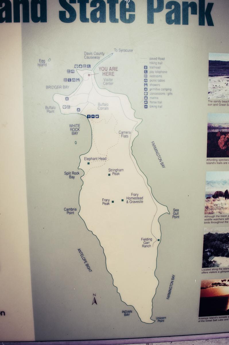 carte des sentiers et trails sur Antelope Island