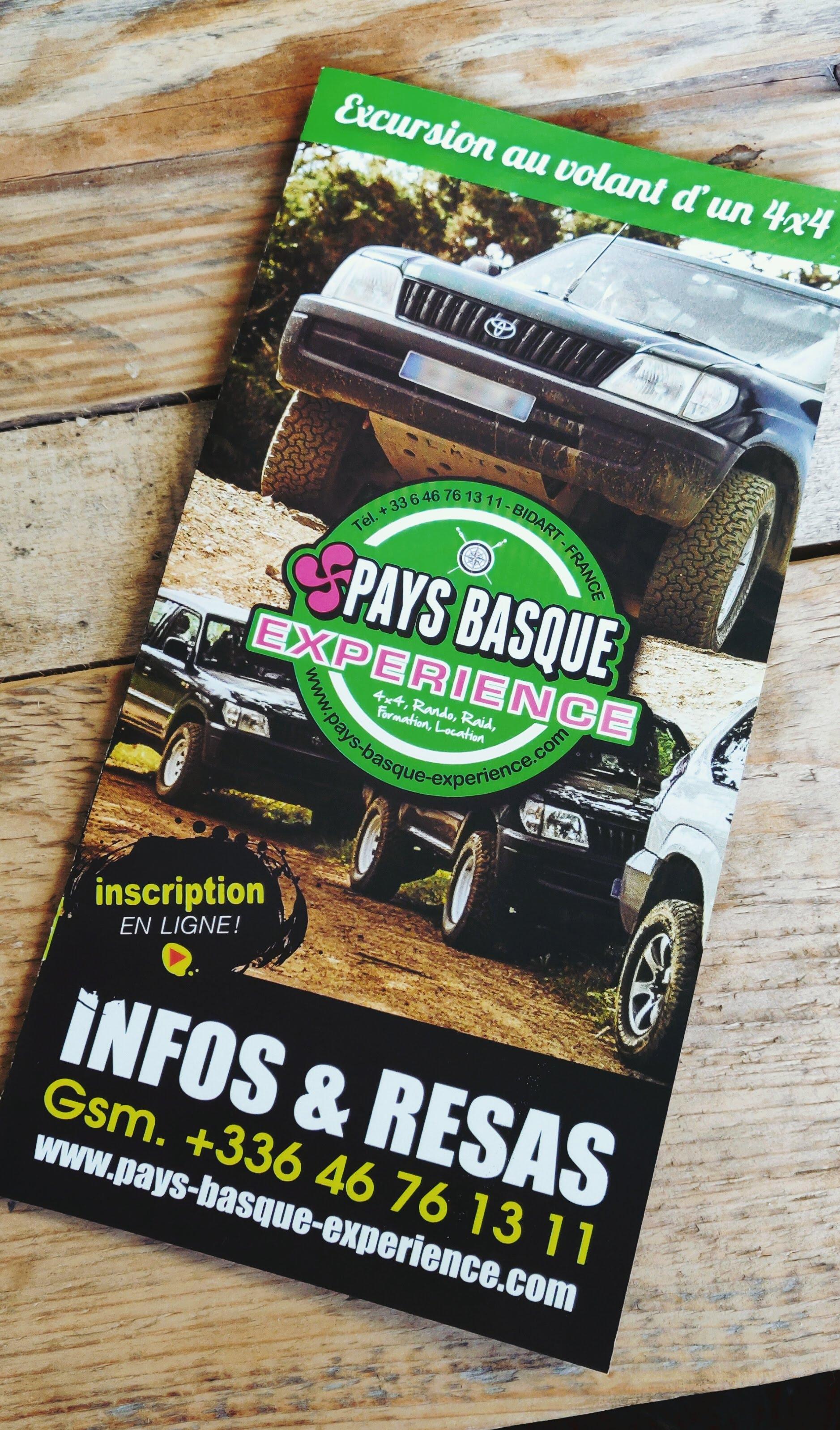 brochure loueur de 4X4 pays basque experience