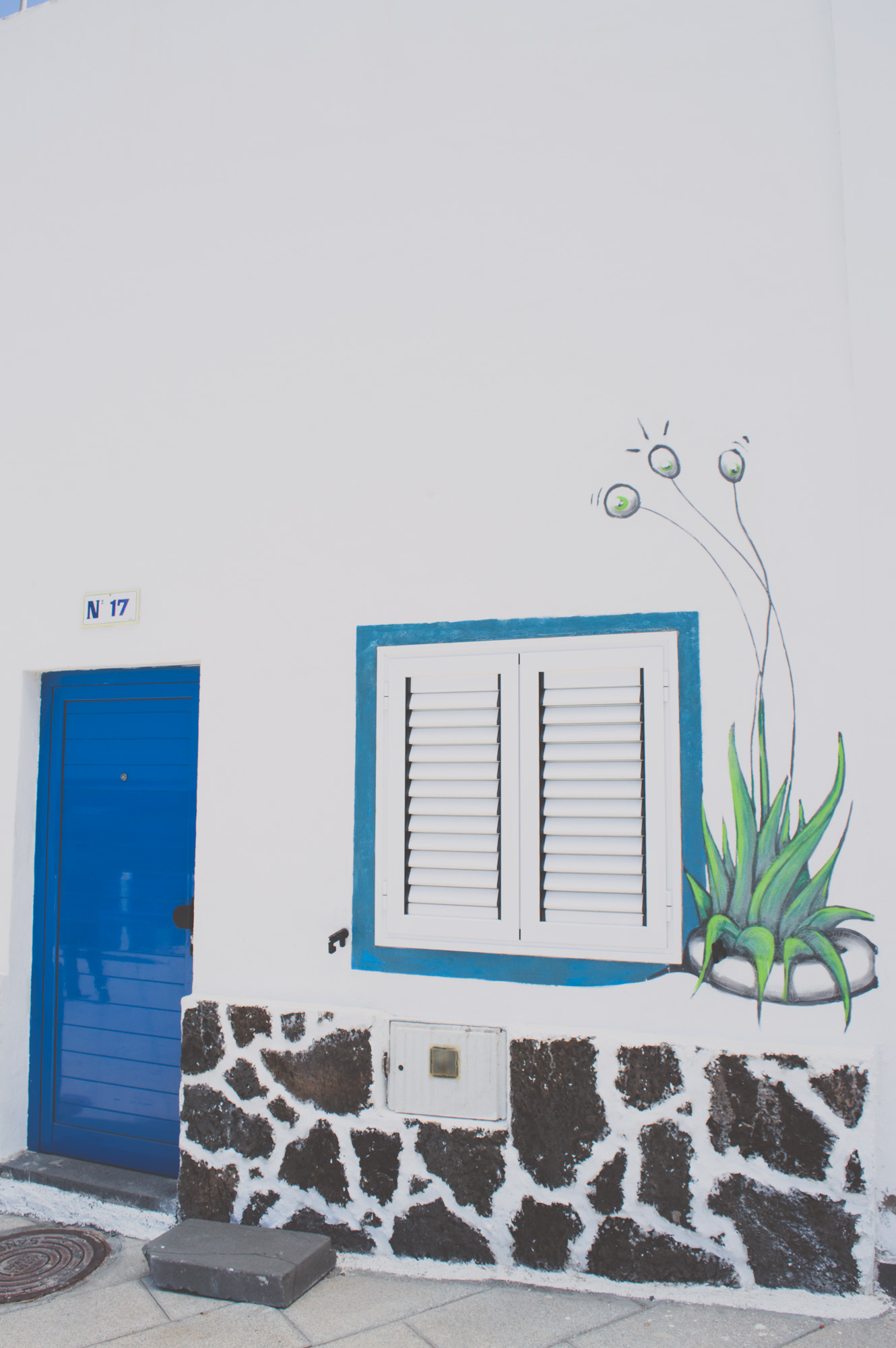 façade de Maison Blanche à porte bleue