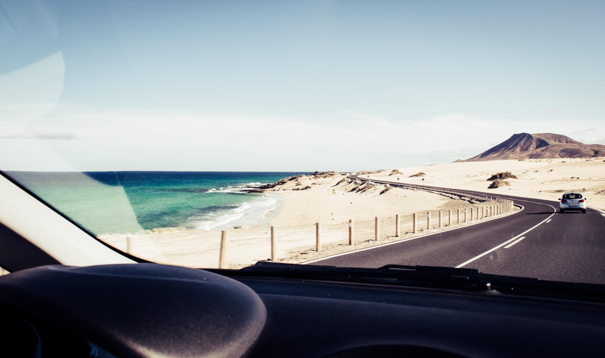 route vers les dunes de Corralejo