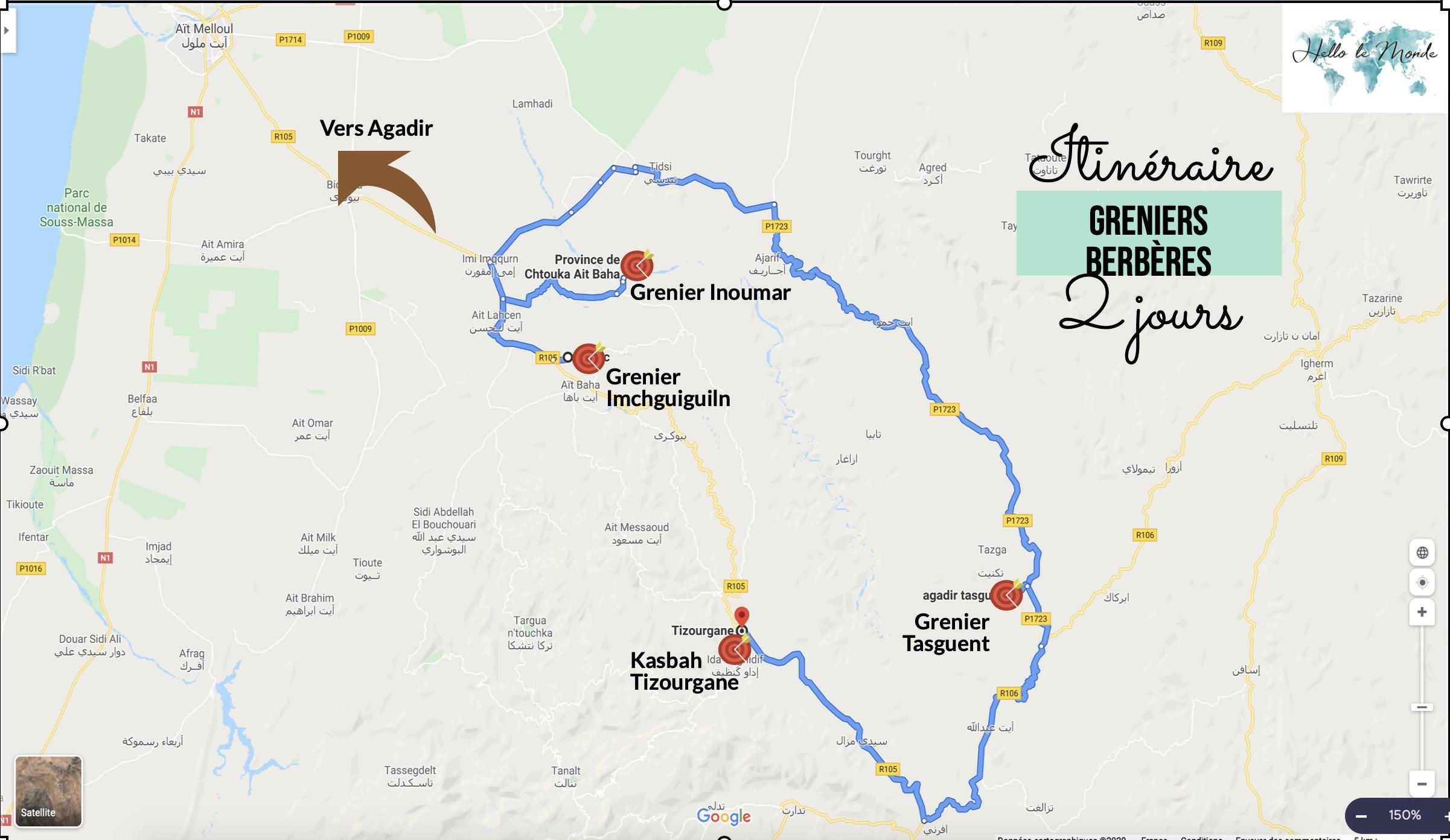 carte des greniers berbères dans la région d'Agadir (Imchguiguiln, inoumar et Tasguent)