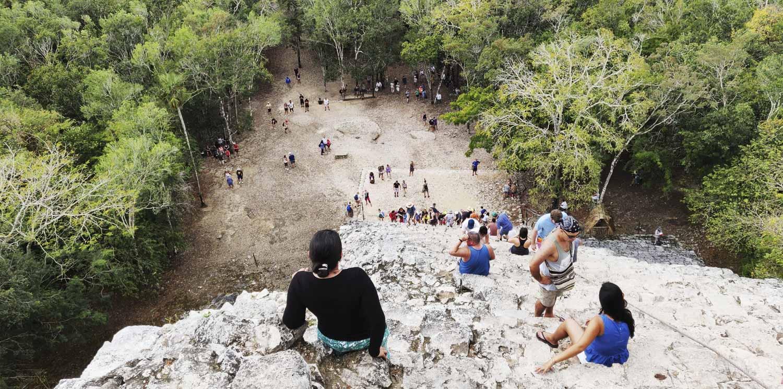 vue depuis la pyramide maya de Coba
