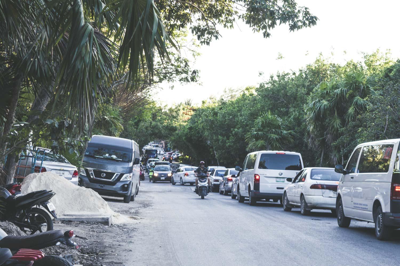 embouteillages à Tulum Playa