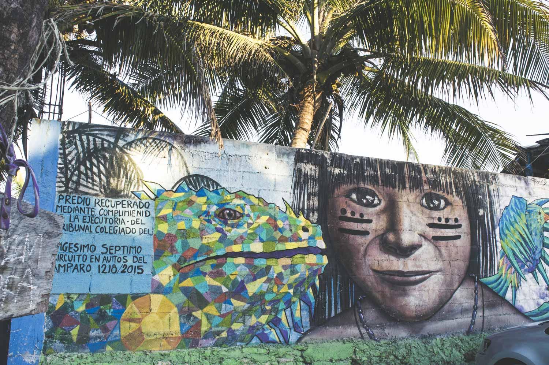 fresque de street art à Tulum Playa