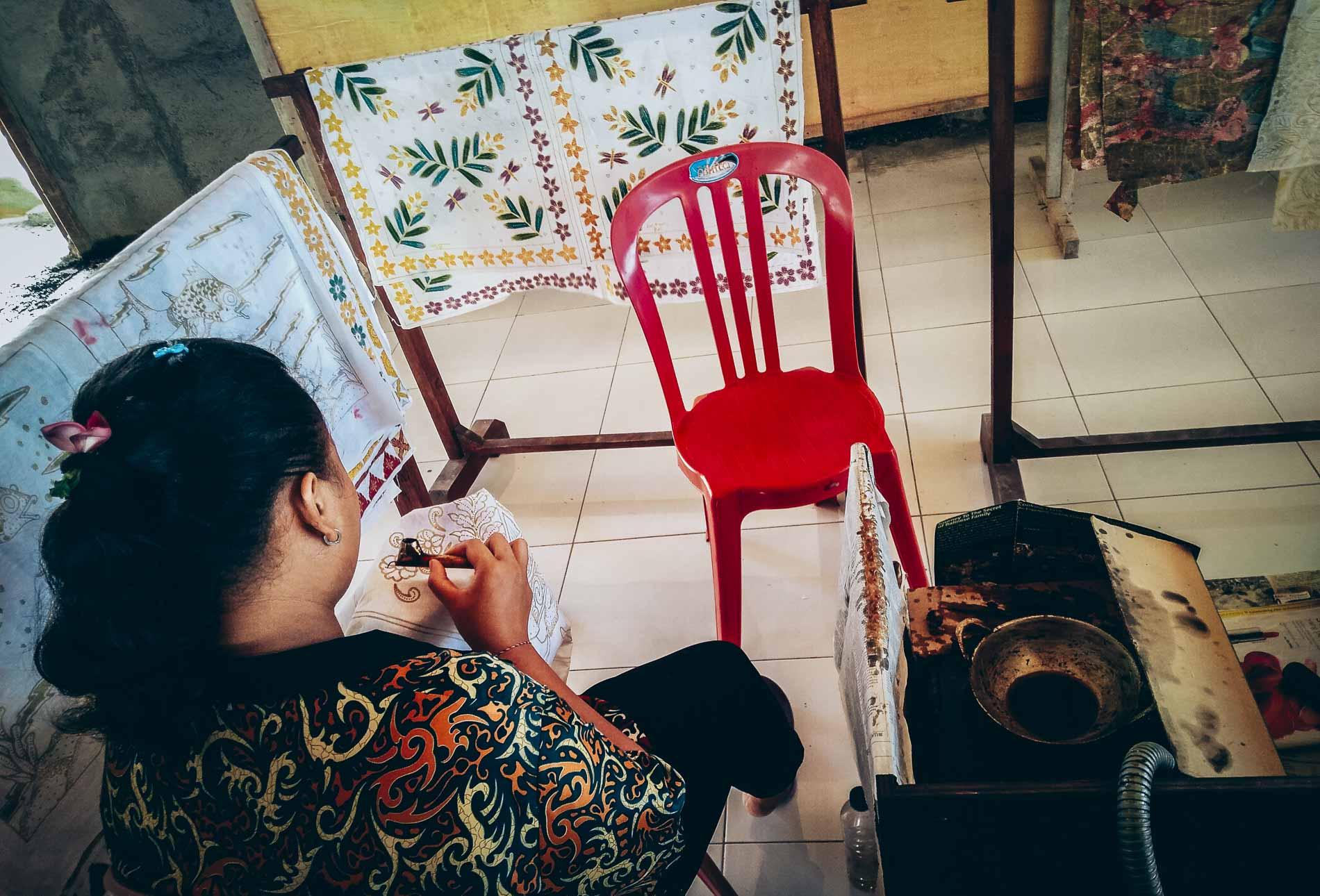 atelier de tissage à Bali