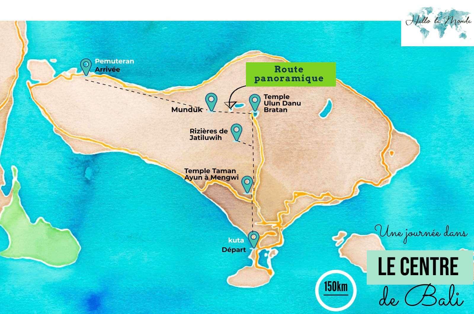 carte des lieux à voir au centre de Bali